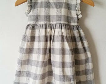 Grey/Cream check dress, linen dress, sleeveless dress