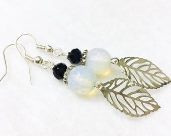 Celestial opalite and black crystal earrings with bohemian feather accents by Jules Jewelry Box