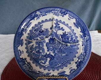 Shenango China Divided Grill Plate- Blue Willow Blue and White