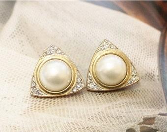 Xmas SALE Vintage Rhinestone Earrings, Gold Pearl Stud Earrings, Triangle Earrings, Gifts Under 15