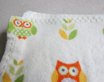 Yellow and green owls, Large flannel receiving blanket, swaddling / swaddler, gender neutral colors, baby girl or boy reusable gift wrap