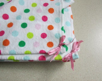 Polka Dot baby blanket, Large receiving blanket, flannel swaddler, 2 styles with pokadots, baby blankets for boys or girls,