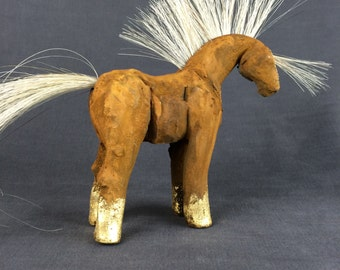 OOAK Equine Sculpture, horse figurine  with real horse hair