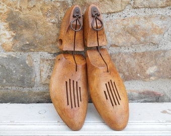 Pair of Antique Wood Articulated Shoe Lasts Hanging Wall Decor Rustic Patina Cobbler Two Shoe Forms Mold