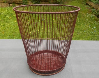 Antique  Industrial Massillon Daisy Metal Wire Waste Basket Can  1910s Garbage Bin Wastebasket Vintage Rustic Office Decor