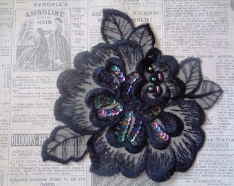 Vintage Rose Lace Applique, Black, x 1, For Romantic, Victorian, Gothic Projects