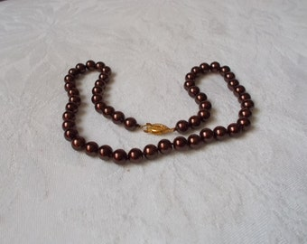 Stunning Beautiful Colorful Pearl Necklace-Chocolate Brown 8MM-N1865
