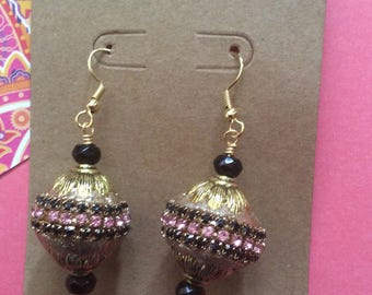 Gold, pink, and black, India inspired, Bollywood inspired dangle earring