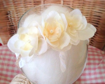 Floral Corsage or Tieback Headband, Newborn Baby Photo Prop, Hair Accessory for Girls