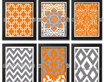 Art Orange Grey Ikat Damask Wall Art Collection -Set of (6) - 8x10 Prints - Featured in Orange Grey (UNFRAMED) #490416904