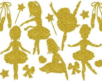 70% OFF SALE Gold Glitter Ballerina Clipart - Digital Vector Girls, Ballet, Glitter, Ballerinas Clip Art for Personal and Commercial Us