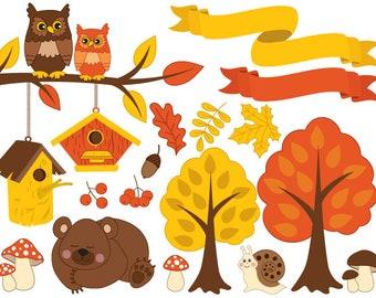70% OFF SALE Autumn Clipart - Digital Vector Forest, Bear, Owl, Autumn, Tree, Ribbons, Fall Clip Art