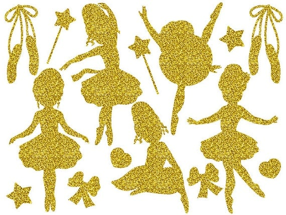 Gold Glitter Ballerina Clipart Digital Vector Girls