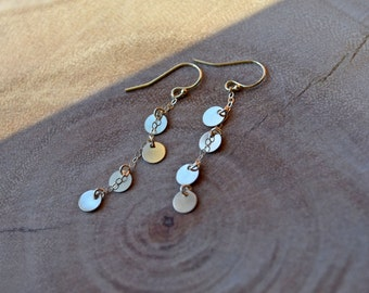 Long Gold Dangles, Cluster Earrings, Long Silver Dangle Earrings, Disc Earrings, Boho Chic, Long Silver Earrings, Long Gold Earrings