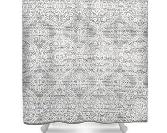 Farmhouse Shower Curtain, Gray Wood Curtain, Farmhouse Bathroom, Rustic  Shower Curtain, White