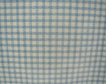 Vintage  Bed Sheet, Twin Size, Blue and White Windowpane Plaid, Unused, Farmhouse Chic