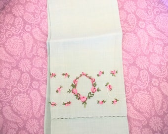 Vintage Fingertip Hand Towel Linen Embroidery Floral Aqua and Pink Shabby Cottage Chic Guest Hand Towel