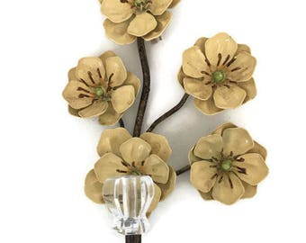 Vintage Italian Floral Toleware Metal Wall Hook Shabby Cottage Chic Wall Hanger