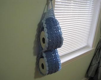 Crochet 2-Roll Toilet Paper Holder - light periwinkle/light blue (TPH3B)