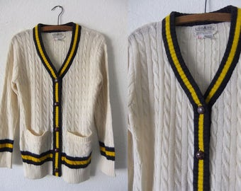 Preppy Cable Knit Cardigan Sweater - Cream Color 70s Contrast Trim College Sweater Letterman Sweater - Vintage Womens Large