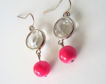 Hot pink earrings, barbie earrings, Pink Crystal Earrings, Diamond and pink,