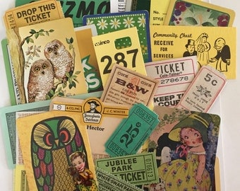 SCRAP PACK / 30 Pc. Vintage Green & Yellow DIY Paper Pack for Altered Art, Collage, Mixed Media, Scrap Kit