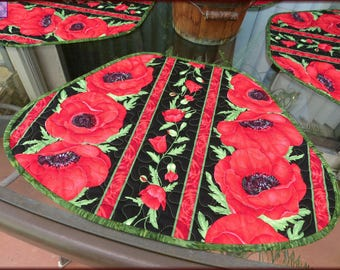 Quilted Placemats Red Poppy Flora Quilt 574