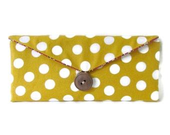 Yellow Wallet - Yellow Bifold Wallet - Polka Dot Wallet - Women's Wallet - Yellow Polka Dot Wallet - Women's Billfold - Yellow Billfold