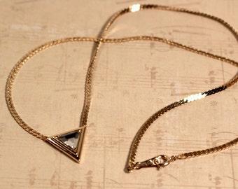 Avon Simulated Diamond Dazzle Dot Necklace Gold Tone -  Vintage 1986