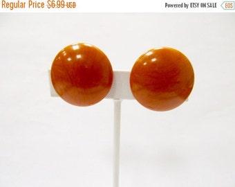 On Sale Vintage Burnt Orange Plastic Earrings Item K # 2066