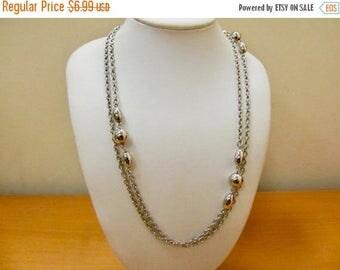 On Sale Vintage Silver Tone Beaded Station Necklace Item K # 1466