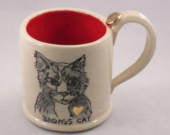 Badass Cat Mug, Handmade Ceramic Pottery, hand painting and Gold lustre