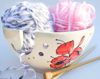 Large Yarn Bowl, Knitting Bowl With Hand Painted Poppies - Pottery Yarn Bowl - In Stock - Ceramic Yarn Bowl, Ready to Ship