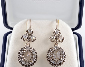 Authentic early Victorian 3.40 Ct rose cut diamond rare drop earrings