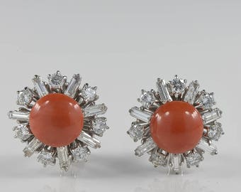 Superb 4.00 Ct best diamond natural red coral vintage daisy earrings