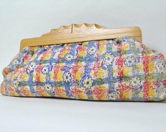 Vintage 1930s Fabric Clutch 30s Purse Art Deco Wood Closure