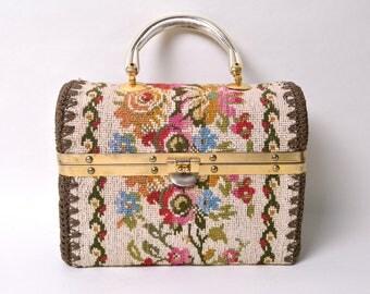 Vintage 1960s Box Purse 60s Needlepoint Crochet Handbag Made In Italy