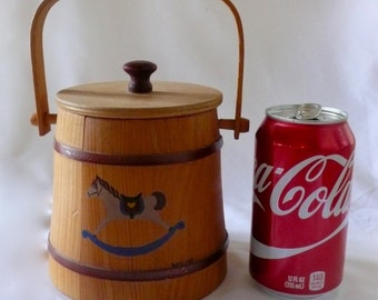 Vintage Miniature  Firkin Sugar Bucket Hand Painted Rocking Horse  Basketville Putnam Vermont