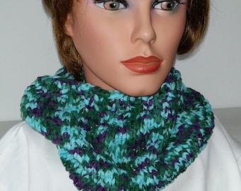 Scarf Snood Summer Cowl blue/violett/green  100% Cotton