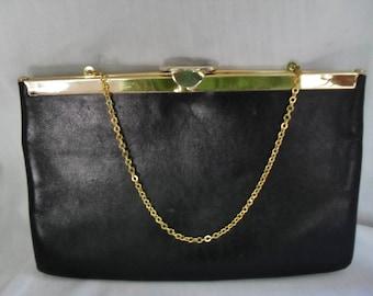Retro Purse, Evening Bag, Black Leather, Envelope  Clutch, Handbag