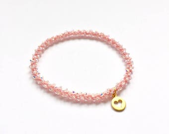 Sahasrara- crown chakra, golden heart charm, Swarovski crystal, beaded crochet, stackable, yoga charm bracelet