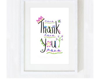 "Inspirational Quote ""Thank You"" / Motivational Gratitude Zen / Mother's Day Gift / Teacher School Classroom / Colorful Print at Home Artwork"
