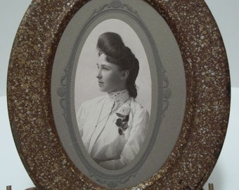 Vintage 1900's Metal Picture Frame Photograph of Young Girl