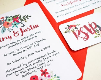 Summer Floral Wedding Ceremony Reception Invitations and RSVPs