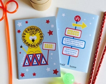 Circus Lion Mini Notebook - Party Bag Filler- Children's Gift- Kid's Stationery- Pads - Kids Jotter-Stocking Filler-Sketchbook-Exercise Book