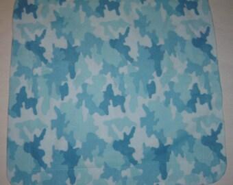 Blue Camo Fleece Satin Baby Blanket