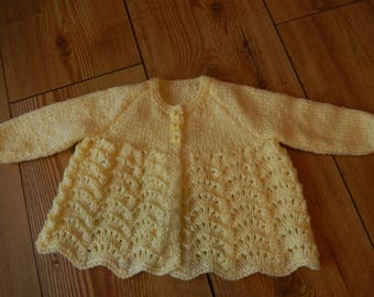 hand knitted baby matinee jacket /  baby sweater / baby cardigan sparkling yellow 0-3 month