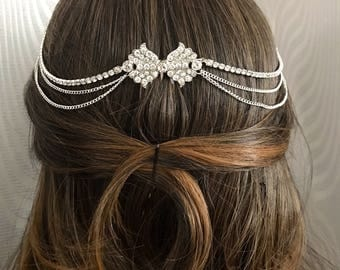 Art deco bridal hair chain , Art deco head chain , Bridal headpiece , 1920s headpiece , bridal accessory.