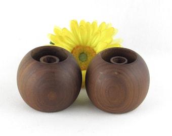 Round Wood Danish Modern Candle Holders