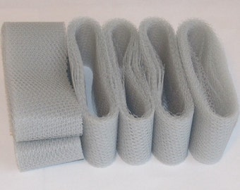 Scrubbie Supplies Gray Nylon Netting Strips Ready To Crochet